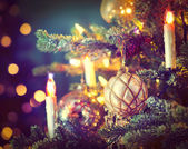 Christmas Tree Decorated with Baubles, Garlands and Candles — Foto Stock