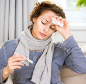 Sick Woman with Thermometer. Headache — Stock Photo