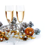 Two Champagne Glasses. Christmas Celebration — Stock Photo