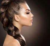 Hair Braid. Beautiful Woman with Healthy Long Hair — Stock Photo