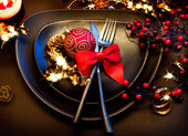 Christmas and New Year Holiday Table Setting. Celebration — Stock Photo