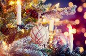 Christmas Tree Decorated with Baubles, Garlands and Candles — Stock Photo