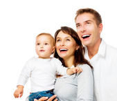 Happy Smiling Family Portrait isolated on White — Stock Photo