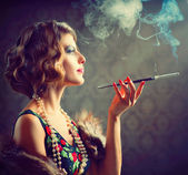 Retro Woman Portrait. Smoking Lady with Mouthpiece — Stock Photo