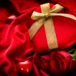Valentine Red Hear Gift on Red Silk Background — ストック写真 #40234851