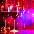 Valentine's Day Celebrating. Two Glasses of Red Wine — Stock Photo