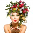 Christmas Woman. Christmas Tree Holiday Hairstyle and Makeup — Stock Photo #40234963