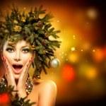 Christmas Woman. Christmas Holiday Hairstyle and Makeup — Stock Photo