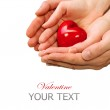 Valentine Heart in Man and Woman Hands isolated on white — Stock Photo