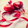 Valentine Heart. Red Satin Gift Ribbon and Red Hearts — Stock Photo