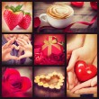 Valentine Collage. Valentines Day Hearts art design — Stock Photo
