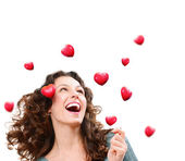 Beauty Young Woman Catching Valentine Hearts. Love Concept — Stock Photo