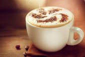 Cappuccino. Cup of Cappuccino or Latte Coffee — Stock Photo