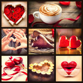 Valentine Collage. Valentines Day Hearts art design — Stock Photo