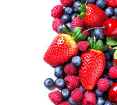 Berries border isolated on White. Spring Organic Berry — Stock Photo