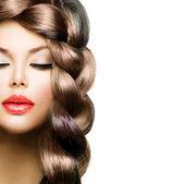 Hair Braid. Beautiful Model Woman with Healthy Long Brown Hair — Stock Photo