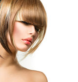 Beautiful Fashion Woman Hairstyle for Short Hair. Fringe Haircut — Стоковое фото