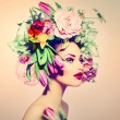 Spring Woman. Beauty Girl with Flowers Hair Style — Stock Photo #44266729