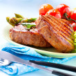 Steak. Grilled Beef Steak Meat with Vegetables — Stock Photo #44266809