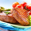 Steak. Grilled Beef Steak Meat with Vegetables — Stock Photo