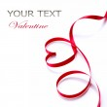 Valentine Heart. Elegant red satin gift ribbon — 图库照片 #44266901