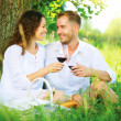 Picnic. Young Couple relaxing and drinking Wine in a Park — Stock Photo #44267023