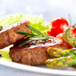 Grilled Beef Steak Meat with Asparagus and Cherry Tomato — Stock Photo