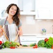 Happy Couple Cooking Together. Dieting. Healthy Food — Stock Photo #44267577