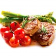 BBQ Steak. Barbecue Grilled Beef Steak Meat with Vegetables — Stock Photo #44267839