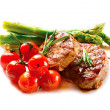 BBQ Steak. Barbecue Grilled Beef Steak Meat with Vegetables — Stock Photo