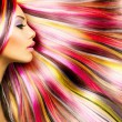 Beauty Fashion Model Girl with Colorful Dyed Hair — Stock Photo #44268469