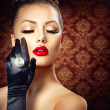 Beauty Fashion Glamour Girl Portrait. Vintage Style — Stock Photo #44268643