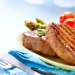 Steak. Grilled Beef Steak Meat with Vegetables — Stock Photo #44268673