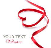 Valentine Heart. Elegant Red Satin Gift Ribbon — Stock Photo
