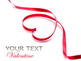 Valentine Heart. Red Silk Ribbon. Love Symbol — Stock Photo