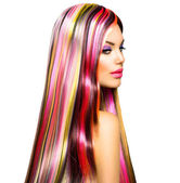Beauty Fashion Model Girl with Colorful Dyed Hair — Zdjęcie stockowe