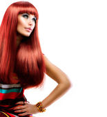 Healthy Straight Long Red Hair. Fashion Beauty Model Girl — Stock Photo
