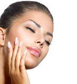 Beauty Spa Woman Portrait. Beautiful Girl Touching her Face — Stock Photo