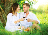 Picnic. Young Couple relaxing and drinking Wine in a Park — Stock Photo