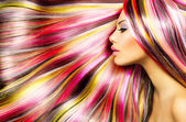 Beauty Fashion Model Girl with Colorful Dyed Hair — ストック写真