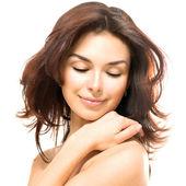 Beauty Woman. Beautiful Young Female touching Her Skin — Stock Photo