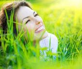 Beautiful Spring Young Woman Outdoors Enjoying Nature — Stock Photo