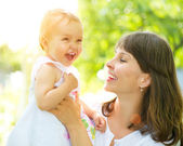 Beautiful Mother And Baby Outdoors. Nature — Stock Photo