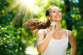 Running Woman. Outdoor Workout in a Park — Stock Photo