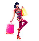Fashion Shopping Model Girl Full Length Portrait — Stock Photo