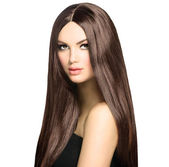 Beauty Woman with Long Healthy and Shiny Smooth Brown Hair — Stock Photo
