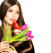 Beauty Woman with Spring Bouquet of Tulip Flowers — Stock Photo