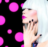 Vogue Style Model Portrait. Girl with White Hair and Black Nails — Stock Photo