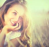 Beauty Fresh Romantic Girl Outdoors. Nature — Stock Photo