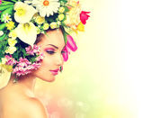 Beauty Spring Girl with Flowers Hair Style — Stock Photo